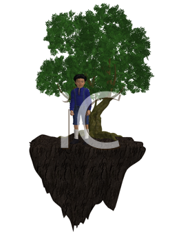 Royalty Free Clipart Image of a Little Boy Next to a Tree