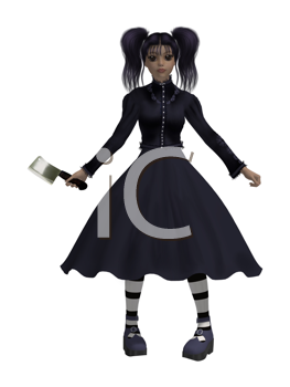 Goth girl with an axe wearing a black dress
