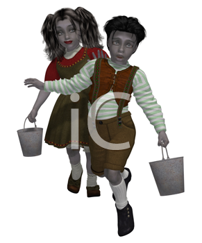 Royalty Free Photo of a Boy and Girl With Pails
