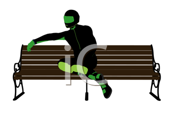 Royalty Free Clipart Image of a Motorcyclist on a Park Bench