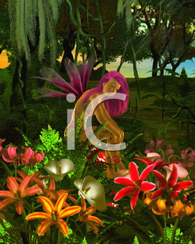 Royalty Free Clipart Image of a Fairy in a Garden