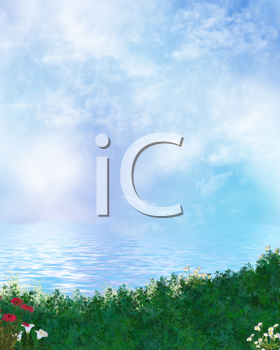Royalty Free Clipart Image of a Lake and Grass