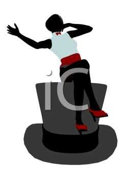 Royalty Free Clipart Image of a Woman Sitting on a Top Hat
