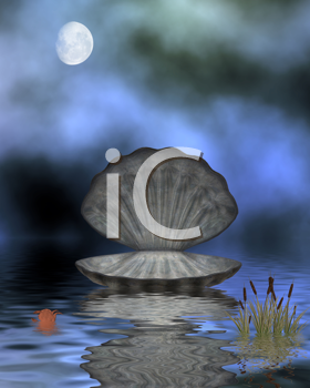 Royalty Free Clipart Image of an Oyster Shell on Water