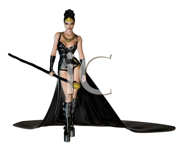 Royalty Free Clipart Image of a Woman in a Cape