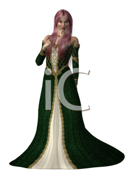 A princess in a green dress on a white background