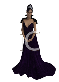 Royalty Free Clipart Image of a Woman in a Gown and Tiara