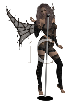 Royalty Free Clipart Image of a Fairy at a Microphone