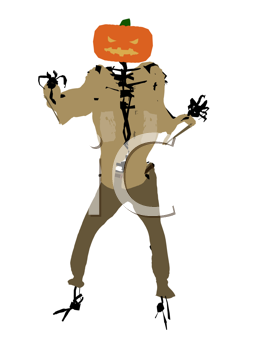 Royalty Free Clipart Image of a Scary Pumpkin Man