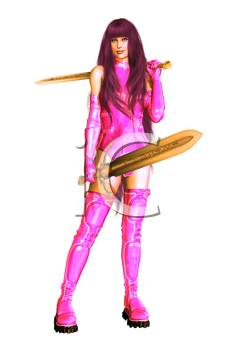 Royalty Free Clipart Image of a Fantasy Warrior Woman in Pink