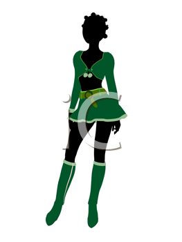Sexy african american female christmas elf illustration silhouette on a white background