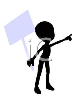 Royalty Free Clipart Image of a Strange Man With a Sign