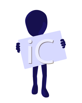 Royalty Free Clipart Image of a Silhouette With a Sign