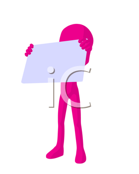 Royalty Free Clipart Image of a Pink Guy With a Sign