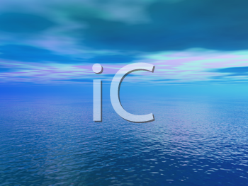 Royalty Free Clipart Image of a Sky and Ocean