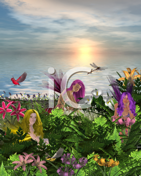 Royalty Free Clipart Image of Fairies in Flowers by the Sea