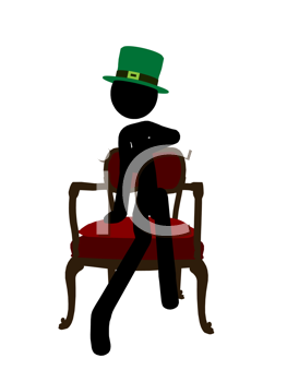 Royalty Free Clipart Image of a Stick Man in a Green Hat Sitting on a Chair
