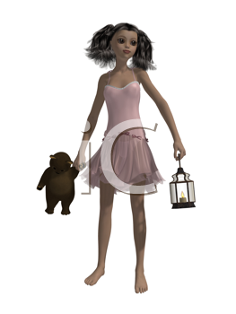 Royalty Free Clipart Image of a Little Girl Holding a Teddy Bear