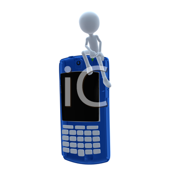 Royalty Free Clipart Image of a 3D Man With a Cellphone