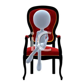 Royalty Free Clipart Image of a 3D Guy on a Chair