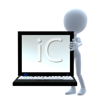 Royalty Free Clipart Image of a 3D Guy With a Laptop