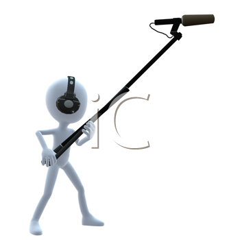Royalty Free Clipart Image of a 3D Guy With a Microphone