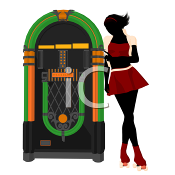 Royalty Free Clipart Image of a Woman on Roller Skates Next to a Jukebox