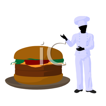 Royalty Free Clipart Image of a Chef and Burger