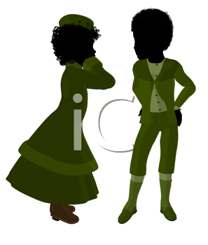 Royalty Free Clipart Image of Two Victorian Children