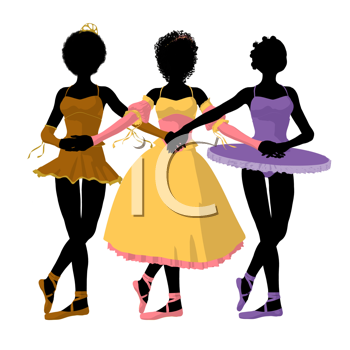 Three african american ballerinas holding hands on a white background
