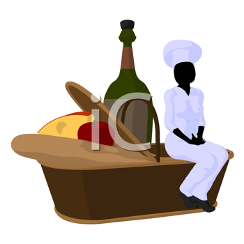 Royalty Free Clipart Image of a Female Chef With a Picnic Basket of Food and a Wine Bottle