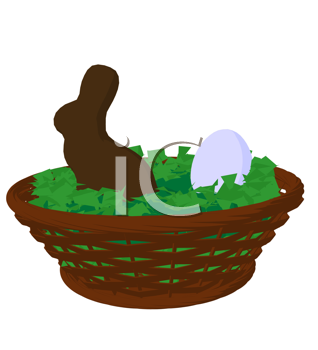 Easter basket with a chocolate bunny and egg on a white background