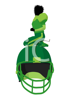 Royalty Free Clipart Image of a Female Football Player With a Helmet