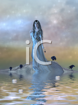 Beautiful female surrounded by water and crows