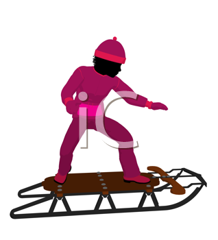 Royalty Free Clipart Image of a Girl With a Sled