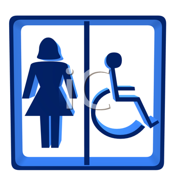 Royalty Free Clipart Image of a Female Handicap Sign
