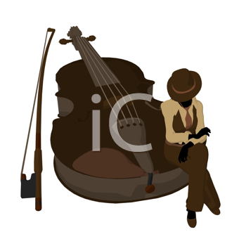 Female jazz player on a violin illustration silhouette on a white background