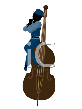 Royalty Free Clipart Image of a Woman With an Upright Bass