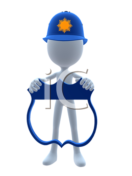 Royalty Free Clipart Image of a 3D Cop Holding a Shield