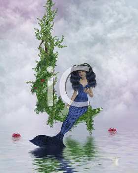 Royalty Free Clipart Image of a Mermaid Sitting on a Vine