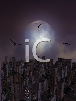 Royalty Free Clipart Image of Crows Flying Over a City