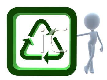 Royalty Free Clipart Image of a 3D Man With a Recycle Symbol