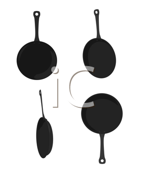 Four skillets on a white background
