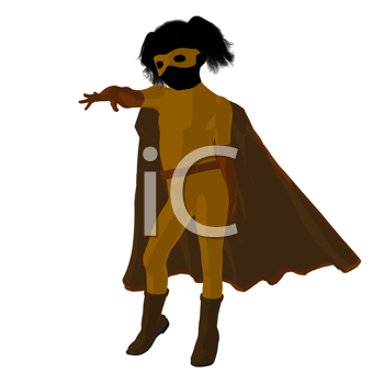 Royalty Free Clipart Image of a Girl Superhero