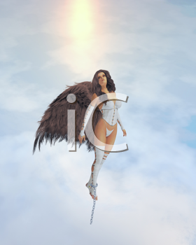 Angel with brown wings broke out of chains