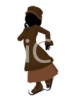 Victorian girl on ice skates silhouette on a white background