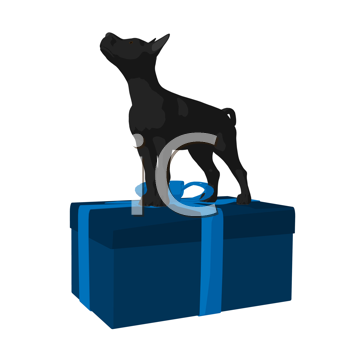Royalty Free Clipart Image of a Black Pup and a Gift