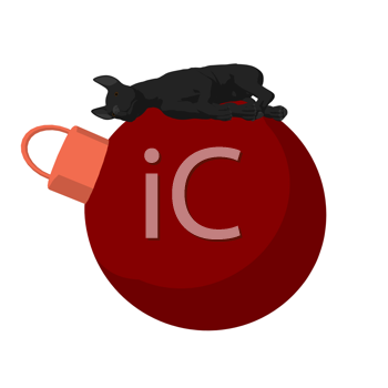 Royalty Free Clipart Image of a Black Dog on an Ornament