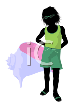 Royalty Free Clipart Image of a Boy With a Seashell