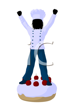 Royalty Free Clipart Image of a Boy on a Cake
